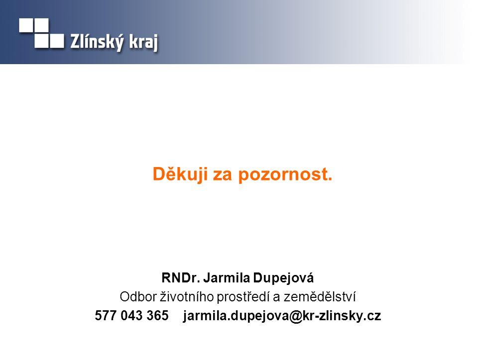 Děkuji za pozornost. RNDr. Jarmila Dupejová Odbor životního prostředí a zemědělství 577 043 365 jarmila.dupejova@kr-zlinsky.cz
