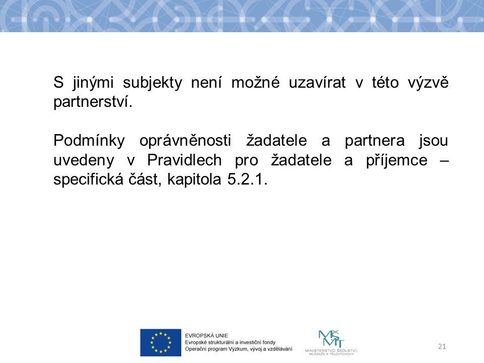 S jinými subjekty není možné uzavírat v této výzvě partnerství.