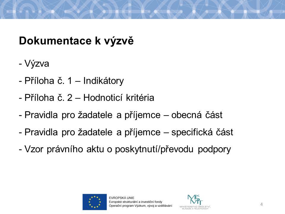 Dokumentace k výzvě - Výzva - Příloha č. 1 – Indikátory - Příloha č.