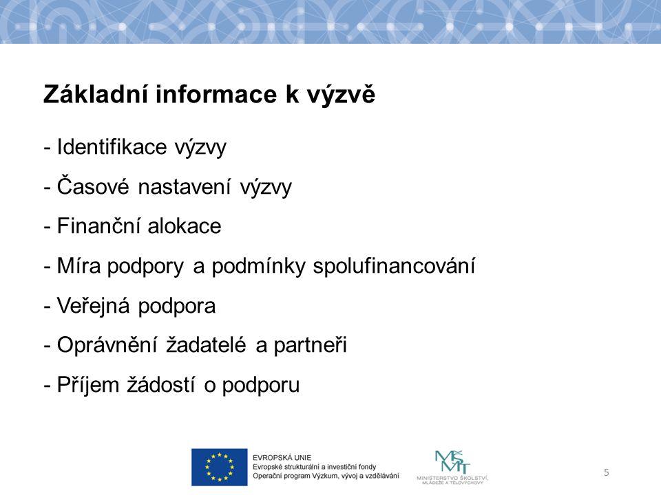 Základní informace k výzvě - Identifikace výzvy - Časové nastavení výzvy - Finanční alokace - Míra podpory a podmínky spolufinancování - Veřejná podpora - Oprávnění žadatelé a partneři - Příjem žádostí o podporu 5
