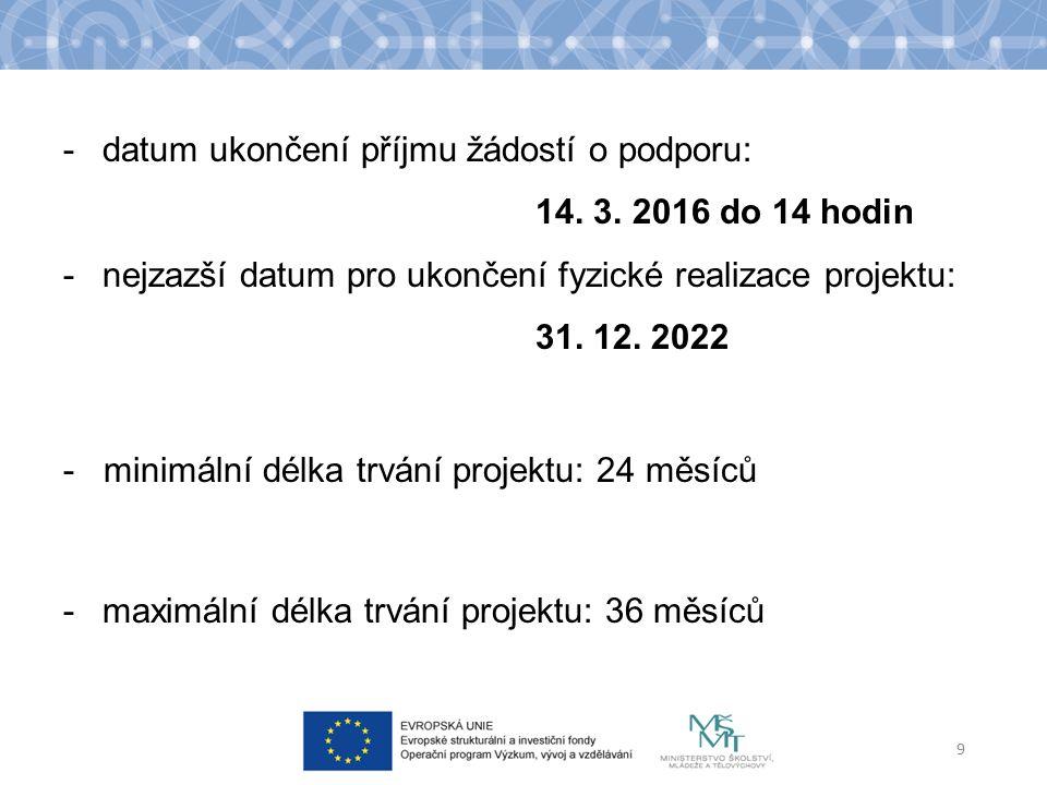 -datum ukončení příjmu žádostí o podporu: 14. 3.