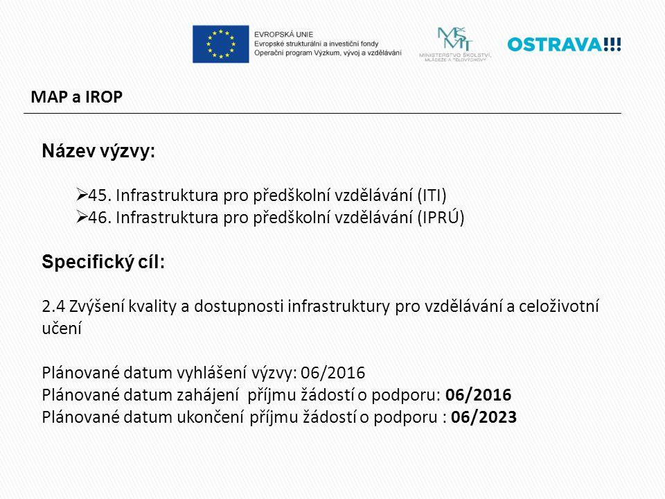 MAP a IROP Název výzvy:  45. Infrastruktura pro předškolní vzdělávání (ITI)  46.