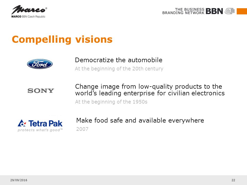 29/09/2016 22 Compelling visions Democratize the automobile At the beginning of the 20th century Change image from low-quality products to the world's