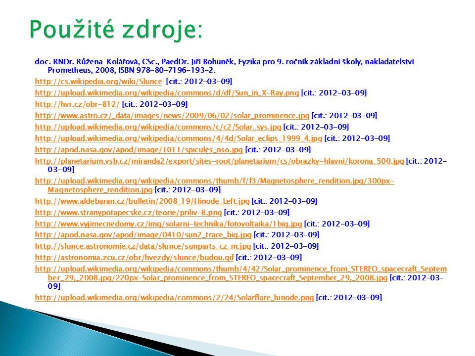 doc. RNDr. Růžena Kolářová, CSc., PaedDr. Jiří Bohuněk, Fyzika pro 9. ročník základní školy, nakladatelství Prometheus, 2008, ISBN 978-80-7196-193-2.