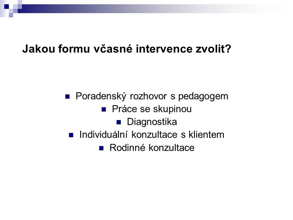 Jakou formu včasné intervence zvolit? Poradenský rozhovor s pedagogem Práce se skupinou Diagnostika Individuální konzultace s klientem Rodinné konzult