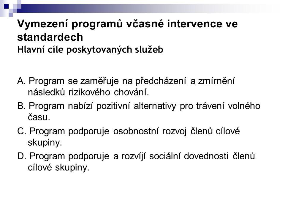 Vymezení programů včasné intervence ve standardech Hlavní cíle poskytovaných služeb A. Program se zaměřuje na předcházení a zmírnění následků rizikové