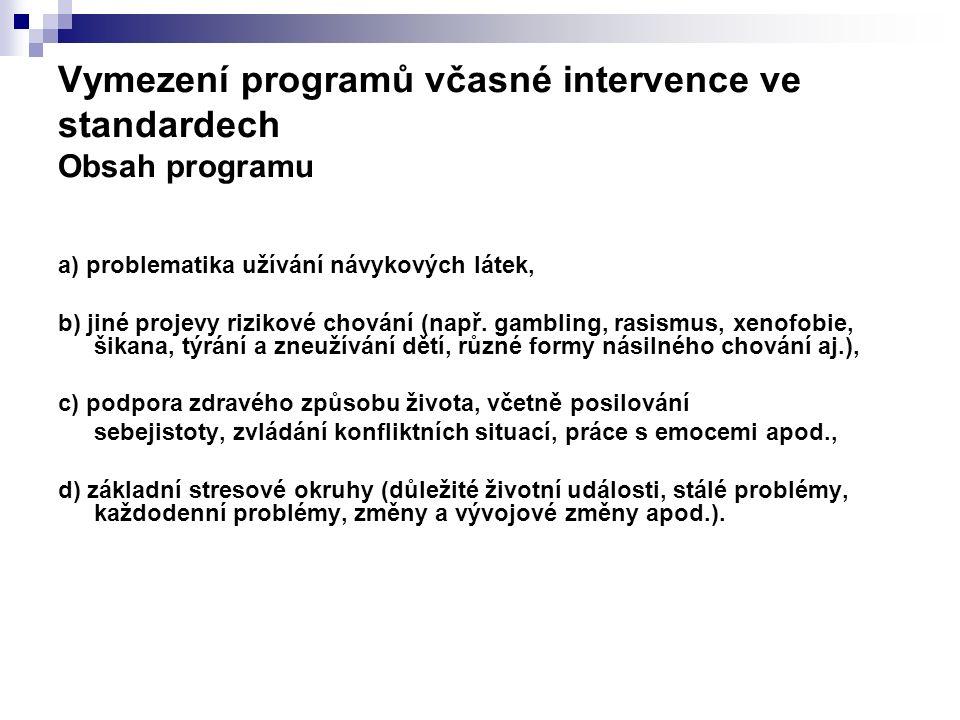 Vymezení programů včasné intervence ve standardech Obsah programu a) problematika užívání návykových látek, b) jiné projevy rizikové chování (např. ga