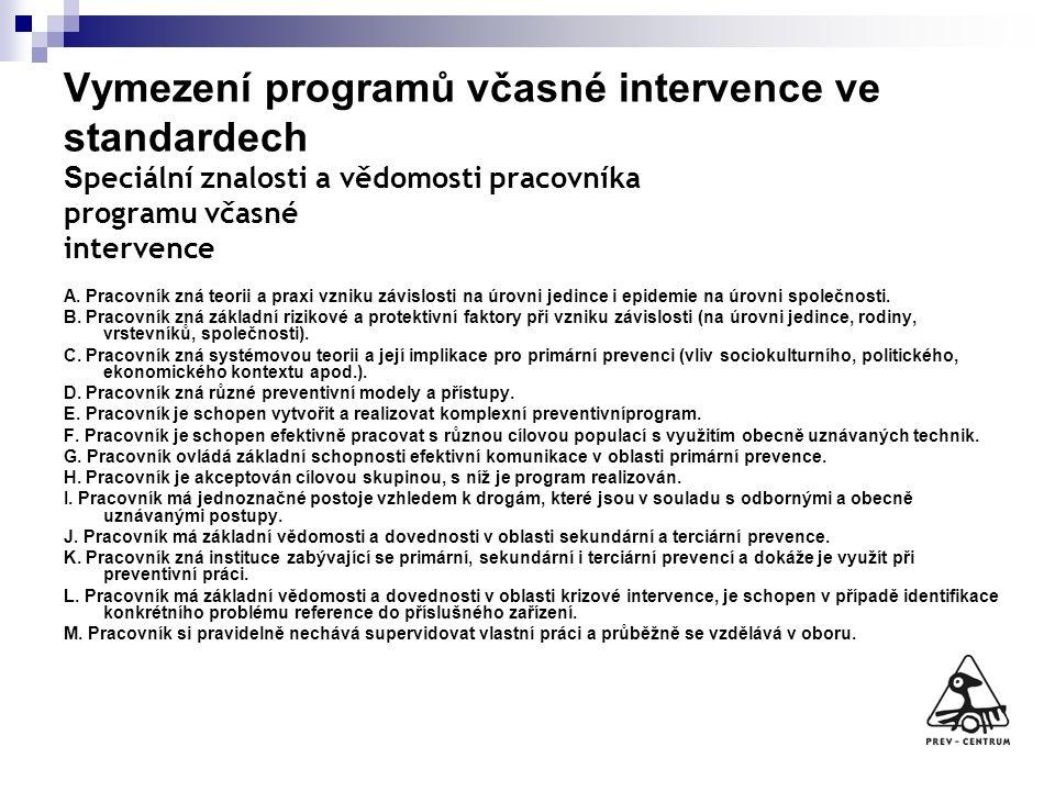 Vymezení programů včasné intervence ve standardech S peciální znalosti a vědomosti pracovníka programu včasné intervence A. Pracovník zná teorii a pra