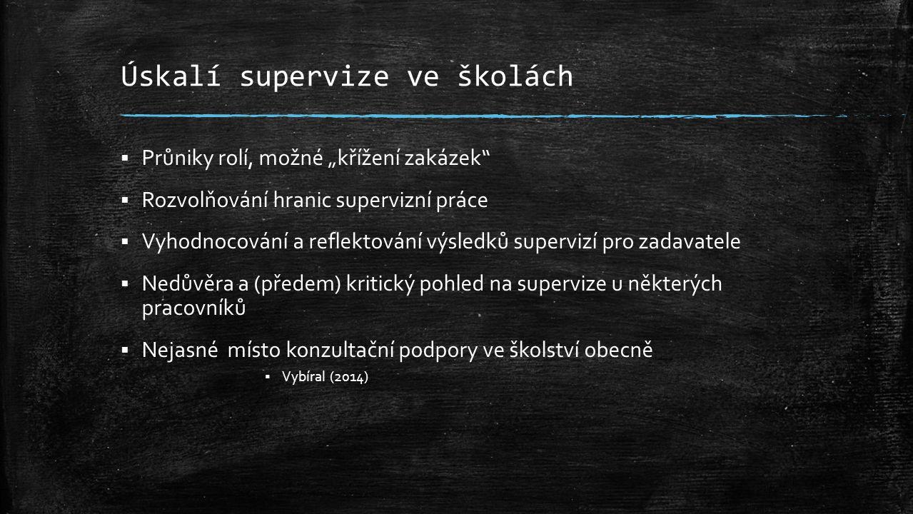 """Úskalí supervize ve školách  Průniky rolí, možné """"křížení zakázek  Rozvolňování hranic supervizní práce  Vyhodnocování a reflektování výsledků supervizí pro zadavatele  Nedůvěra a (předem) kritický pohled na supervize u některých pracovníků  Nejasné místo konzultační podpory ve školství obecně  Vybíral (2014)"""