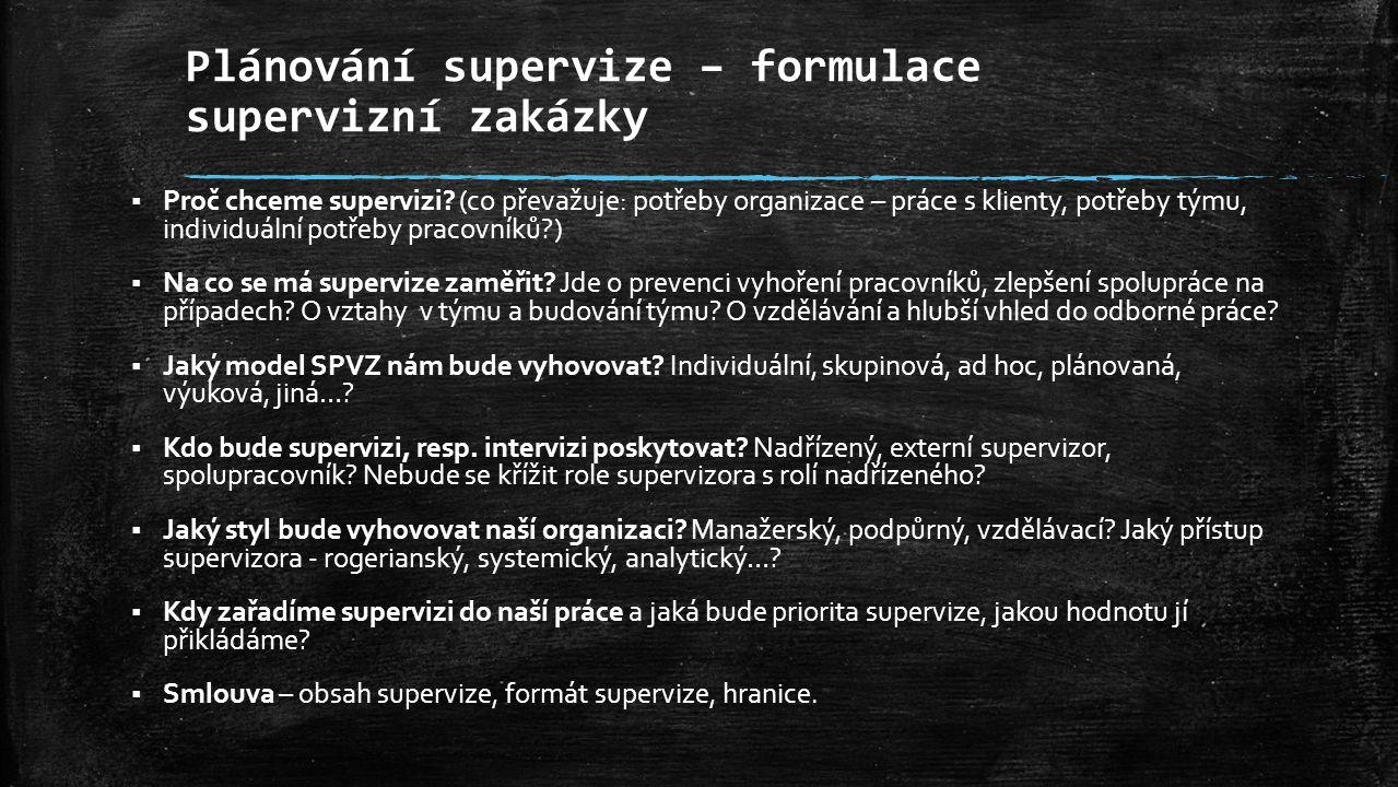 Plánování supervize – formulace supervizní zakázky  Proč chceme supervizi? (co převažuje: potřeby organizace – práce s klienty, potřeby týmu, individ