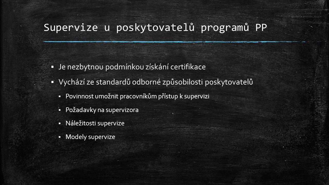 Supervize u poskytovatelů programů PP  Je nezbytnou podmínkou získání certifikace  Vychází ze standardů odborné způsobilosti poskytovatelů  Povinnost umožnit pracovníkům přístup k supervizi  Požadavky na supervizora  Náležitosti supervize  Modely supervize