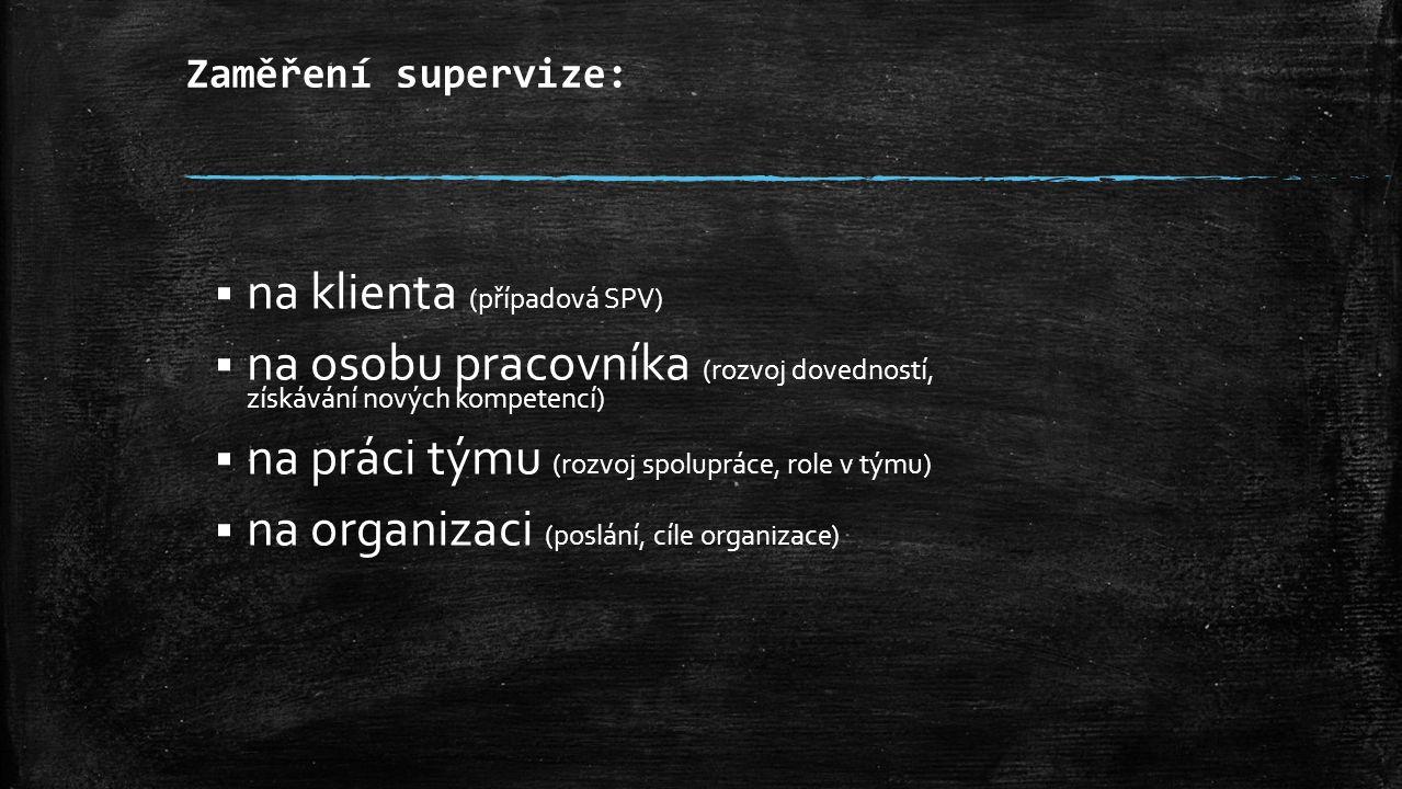Zaměření supervize:  na klienta (případová SPV)  na osobu pracovníka (rozvoj dovedností, získávání nových kompetencí)  na práci týmu (rozvoj spolupráce, role v týmu)  na organizaci (poslání, cíle organizace)