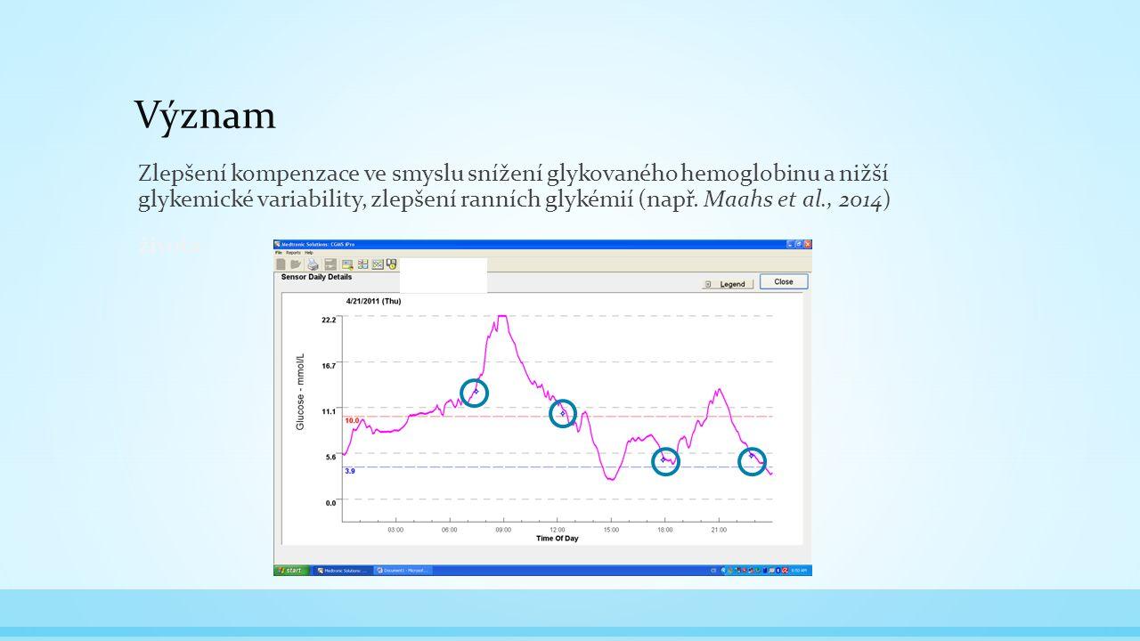 Význam Zlepšení kompenzace ve smyslu snížení glykovaného hemoglobinu a nižší glykemické variability, zlepšení ranních glykémií (např.