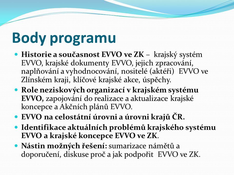 Body programu Historie a současnost EVVO ve ZK – krajský systém EVVO, krajské dokumenty EVVO, jejich zpracování, naplňování a vyhodnocování, nositelé (aktéři) EVVO ve Zlínském kraji, klíčové krajské akce, úspěchy.