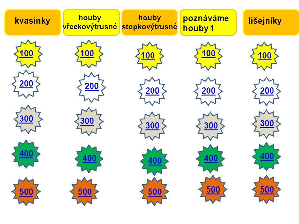 kvasinky poznáváme houby 1 houby vřeckovýtrusné houby stopkovýtrusné lišejníky 100200300400 500 100 500 200 300 400