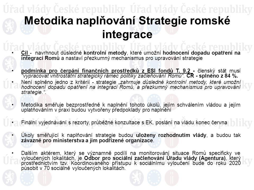 Metodika naplňování Strategie romské integrace Cíl - navrhnout důsledné kontrolní metody, které umožní hodnocení dopadu opatření na integraci Romů a nastaví přezkumný mechanismus pro upravování strategie podmínka pro čerpání finančních prostředků z ESI fondů T.