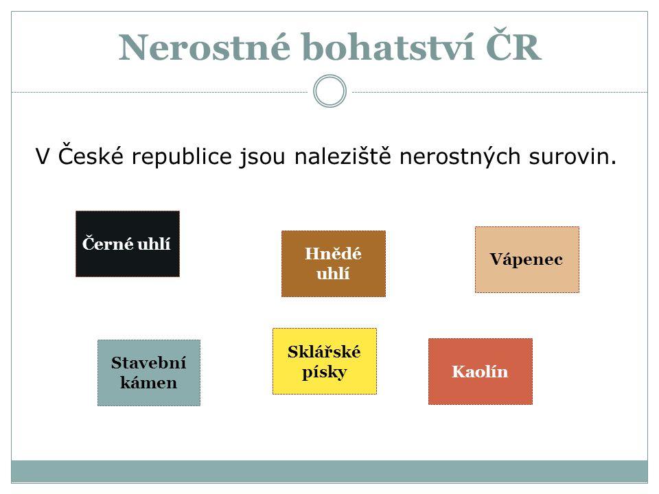 Nerostné bohatství ČR V České republice jsou naleziště nerostných surovin. Černé uhlí Hnědé uhlí Vápenec Kaolín Sklářské písky Stavební kámen