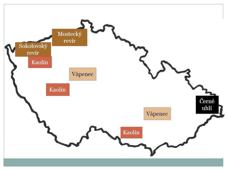 Sokolovský revír Mostecký revír Černé uhlí Kaolín Vápenec