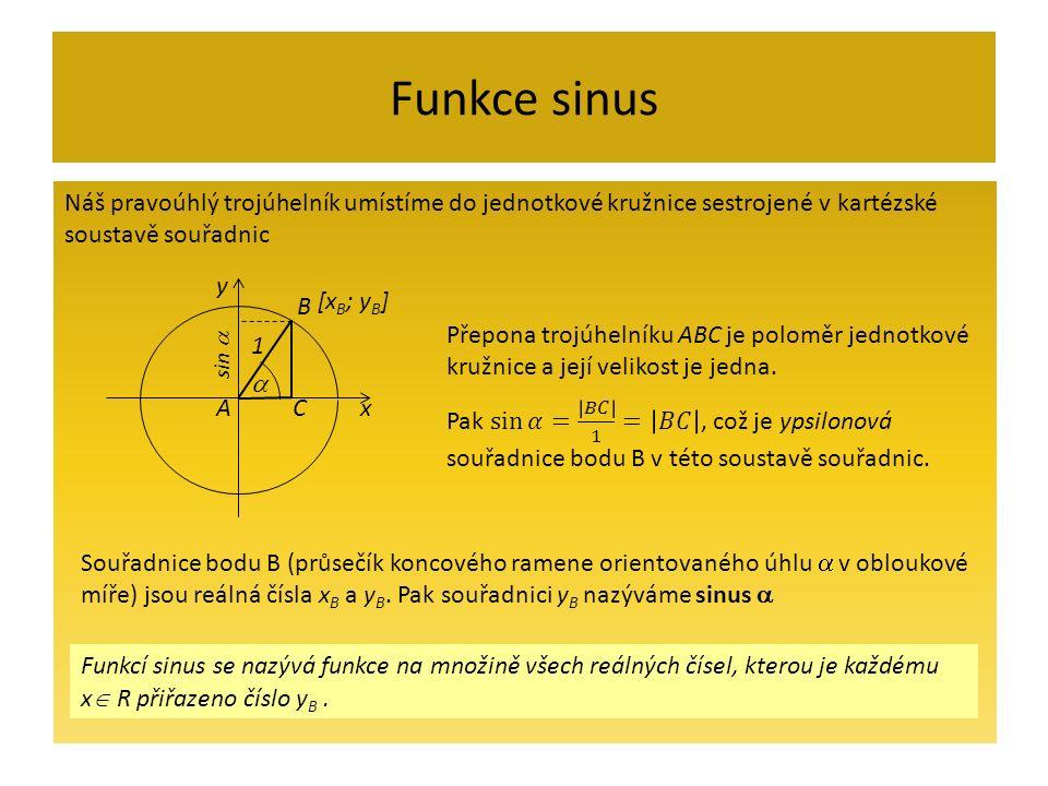 Funkce sinus Náš pravoúhlý trojúhelník umístíme do jednotkové kružnice sestrojené v kartézské soustavě souřadnic Funkcí sinus se nazývá funkce na množině všech reálných čísel, kterou je každému x  R přiřazeno číslo y B.
