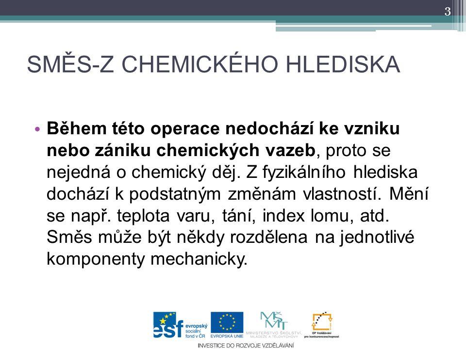 SMĚS-Z CHEMICKÉHO HLEDISKA Během této operace nedochází ke vzniku nebo zániku chemických vazeb, proto se nejedná o chemický děj. Z fyzikálního hledisk