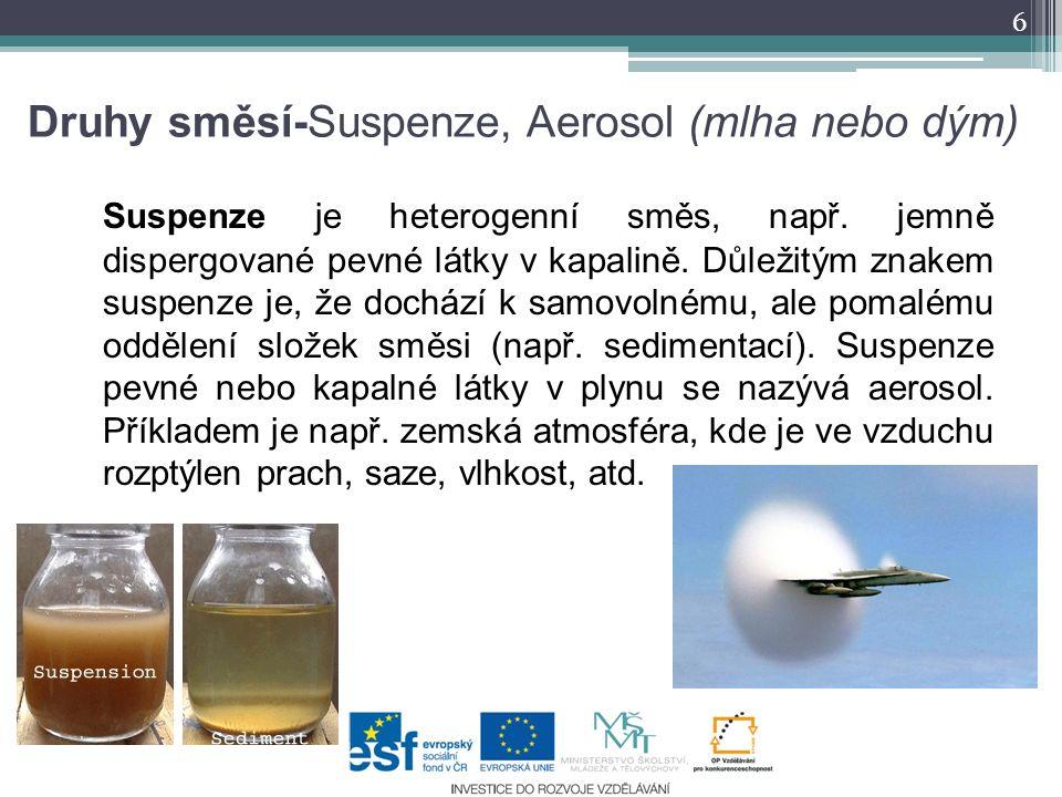 Druhy směsí-Suspenze, Aerosol (mlha nebo dým) Suspenze je heterogenní směs, např. jemně dispergované pevné látky v kapalině. Důležitým znakem suspenze