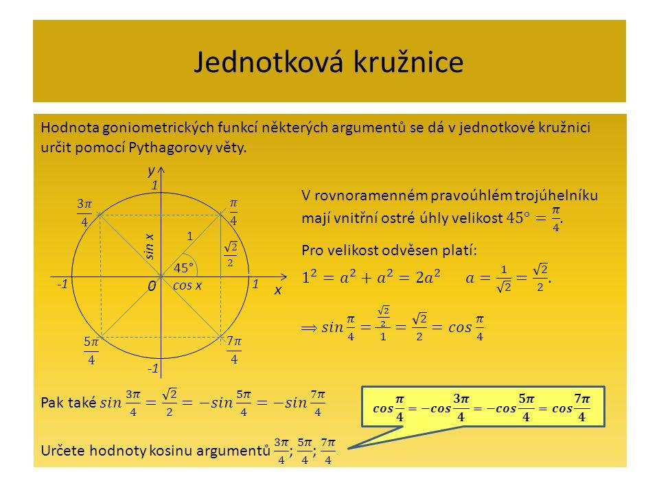 Jednotková kružnice x y 0 sin x 1 1 cos x 1 45°