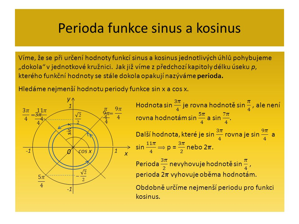 """Perioda funkce sinus a kosinus Víme, že se při určení hodnoty funkcí sinus a kosinus jednotlivých úhlů pohybujeme """"dokola"""" v jednotkové kružnici. Jak"""