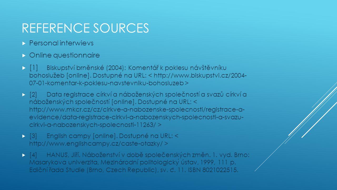 REFERENCE SOURCES  Personal interwievs  Online questionnaire  [1] Biskupství brněnské (2004): Komentář k poklesu návštěvníku bohoslužeb [online].