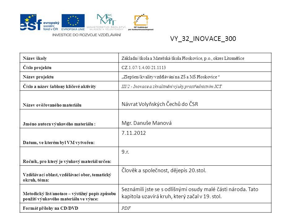 Návrat do vlasti Češi na Volyni, základní informace,Hofman, Jiří, 2.upr.vyd., Praha, Volyň 1995, ISBN: 80- 901872-1-1, titulní str.
