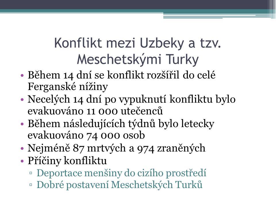Konflikt mezi Uzbeky a tzv. Meschetskými Turky Během 14 dní se konflikt rozšířil do celé Ferganské nížiny Necelých 14 dní po vypuknutí konfliktu bylo