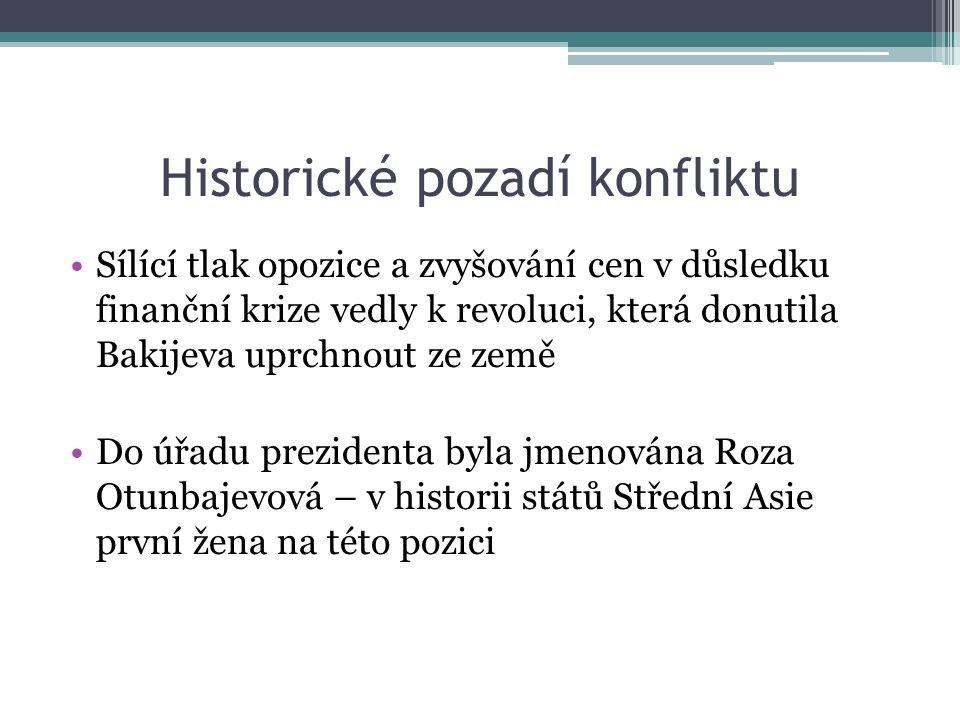 Historické pozadí konfliktu Sílící tlak opozice a zvyšování cen v důsledku finanční krize vedly k revoluci, která donutila Bakijeva uprchnout ze země