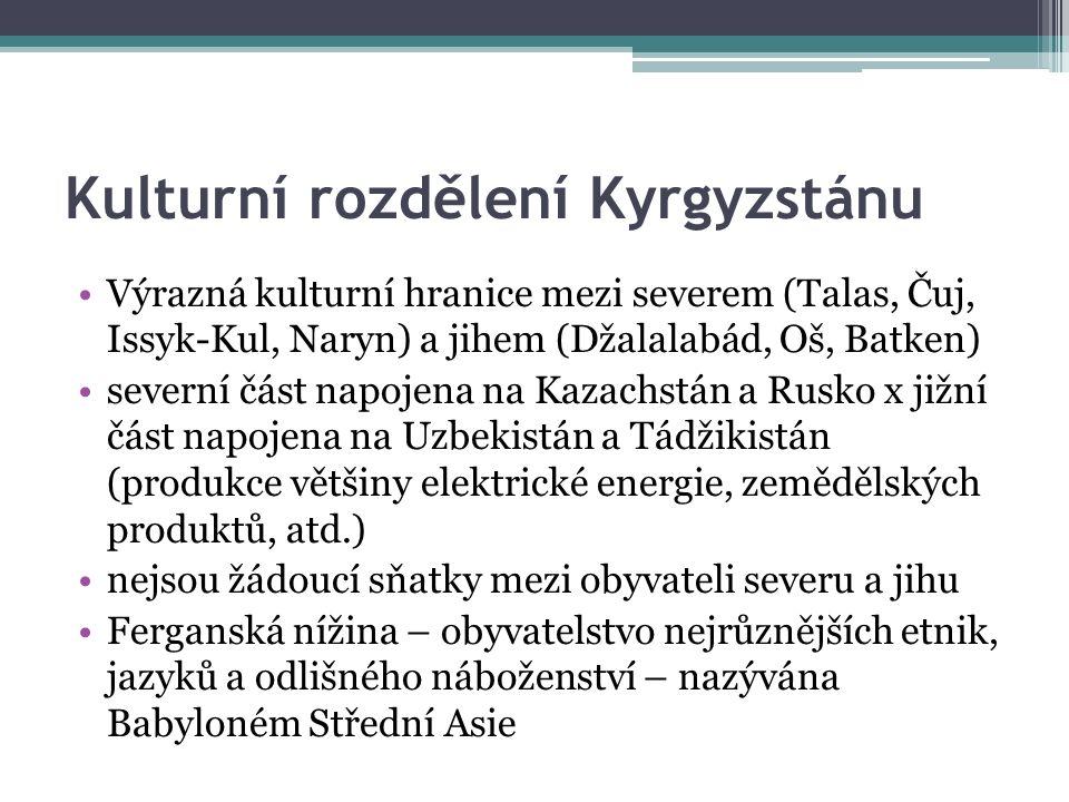 Kulturní rozdělení Kyrgyzstánu Výrazná kulturní hranice mezi severem (Talas, Čuj, Issyk-Kul, Naryn) a jihem (Džalalabád, Oš, Batken) severní část napojena na Kazachstán a Rusko x jižní část napojena na Uzbekistán a Tádžikistán (produkce většiny elektrické energie, zemědělských produktů, atd.) nejsou žádoucí sňatky mezi obyvateli severu a jihu Ferganská nížina – obyvatelstvo nejrůznějších etnik, jazyků a odlišného náboženství – nazývána Babyloném Střední Asie