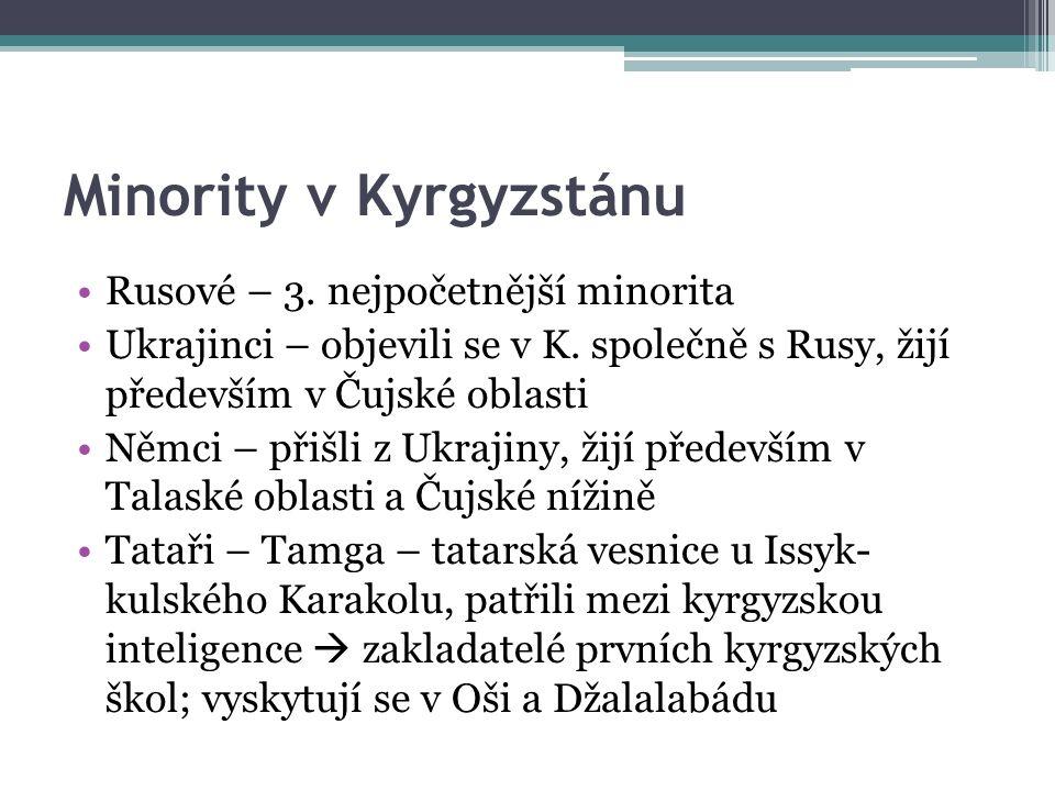 Minority v Kyrgyzstánu Rusové – 3. nejpočetnější minorita Ukrajinci – objevili se v K. společně s Rusy, žijí především v Čujské oblasti Němci – přišli