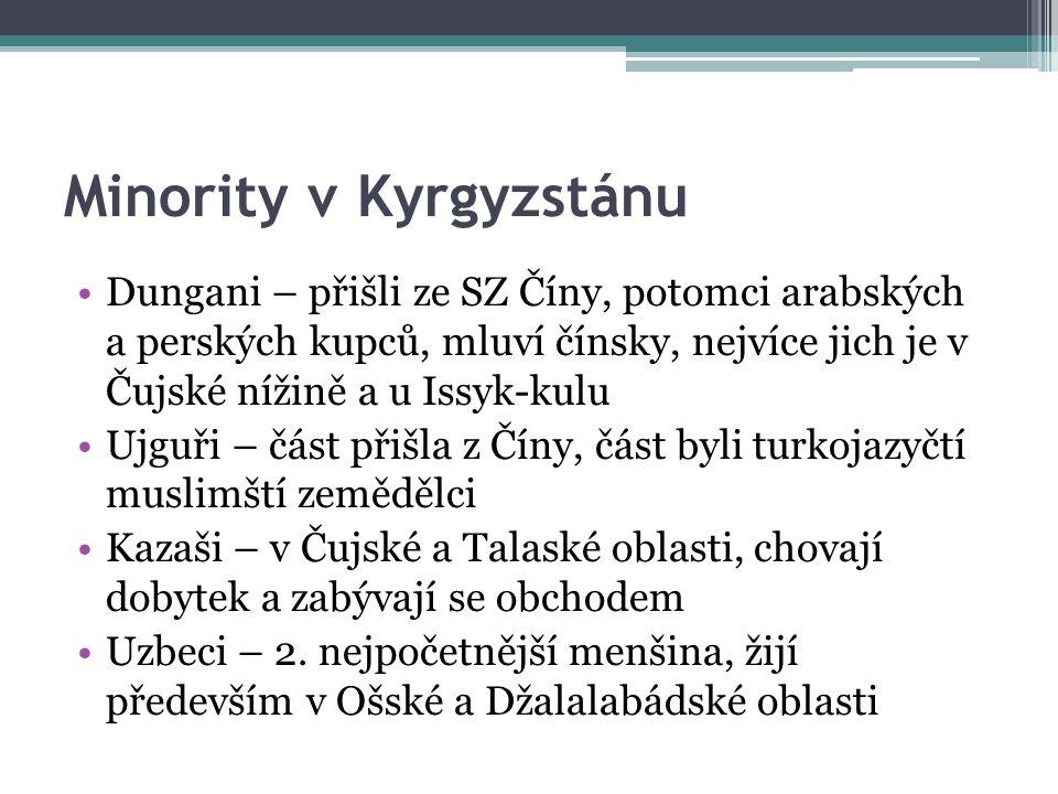 Minority v Kyrgyzstánu Dungani – přišli ze SZ Číny, potomci arabských a perských kupců, mluví čínsky, nejvíce jich je v Čujské nížině a u Issyk-kulu Ujguři – část přišla z Číny, část byli turkojazyčtí muslimští zemědělci Kazaši – v Čujské a Talaské oblasti, chovají dobytek a zabývají se obchodem Uzbeci – 2.