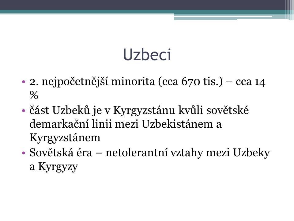 Uzbeci 2. nejpočetnější minorita (cca 670 tis.) – cca 14 % část Uzbeků je v Kyrgyzstánu kvůli sovětské demarkační linii mezi Uzbekistánem a Kyrgyzstán