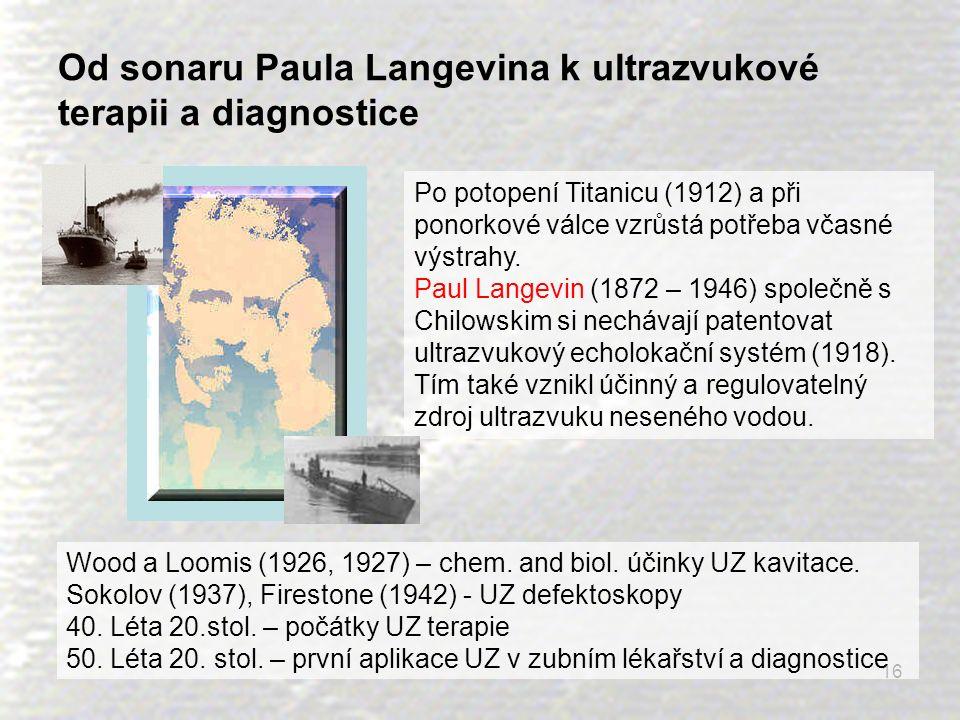 16 Od sonaru Paula Langevina k ultrazvukové terapii a diagnostice Po potopení Titanicu (1912) a při ponorkové válce vzrůstá potřeba včasné výstrahy. P