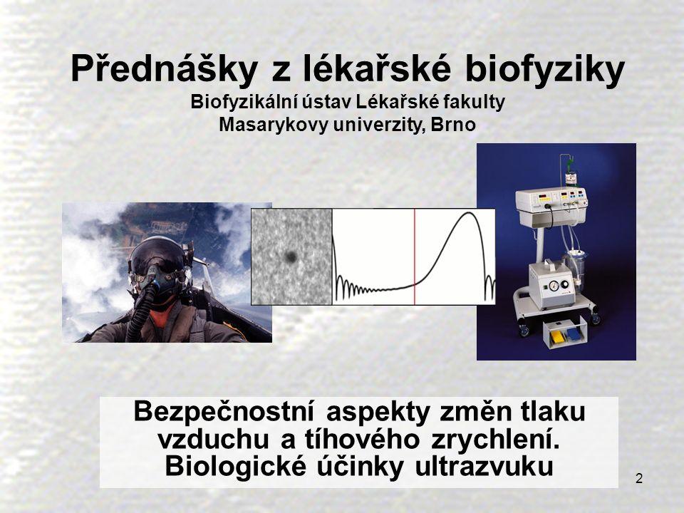 3 Obsah přednášky  Rizika spojená s příliš nízkým nebo vysokým tlakem vzduchu  Rizika plynoucí ze změn tíhového zrychlení, stavu beztíže, kinetózy  Rizika plynoucí z vysokých intenzit ultrazvuku, ultrazvuková kavitace