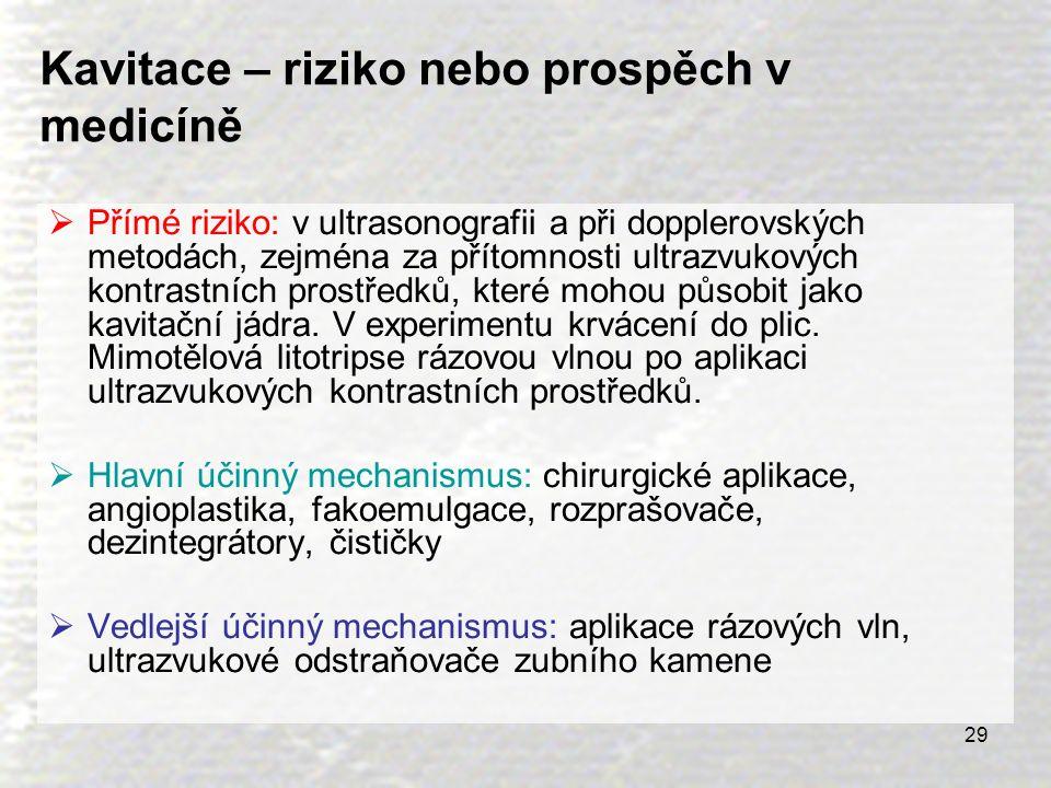 29 Kavitace – riziko nebo prospěch v medicíně  Přímé riziko: v ultrasonografii a při dopplerovských metodách, zejména za přítomnosti ultrazvukových k