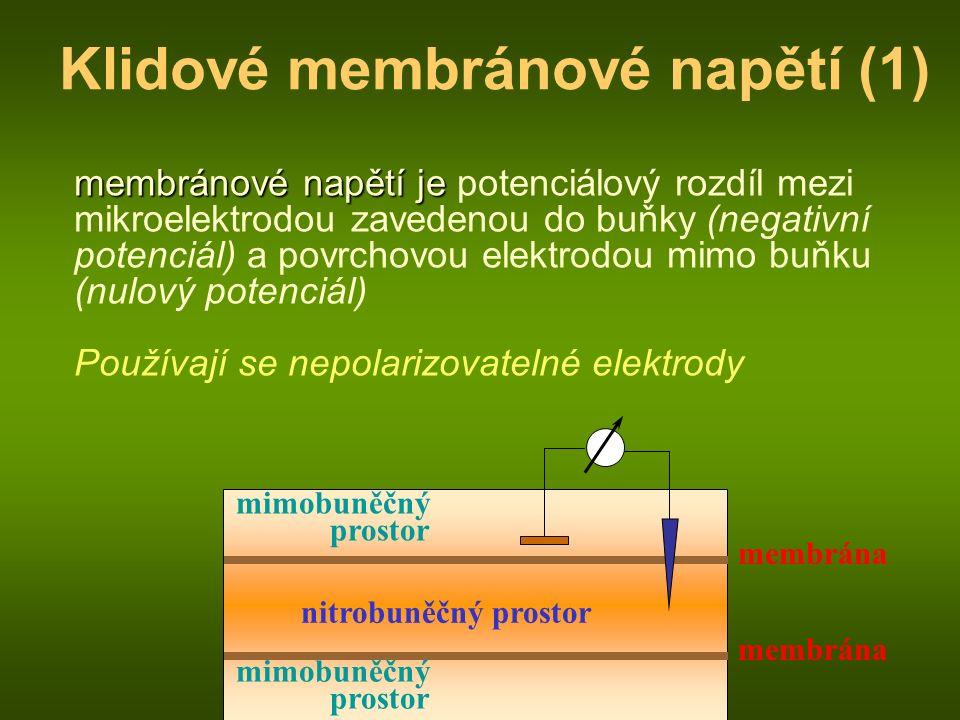 membrána nitrobuněčný prostor mimobuněčný prostor Klidové membránové napětí (1) membránové napětí je membránové napětí je potenciálový rozdíl mezi mikroelektrodou zavedenou do buňky (negativní potenciál) a povrchovou elektrodou mimo buňku (nulový potenciál) Používají se nepolarizovatelné elektrody membrána mimobuněčný prostor