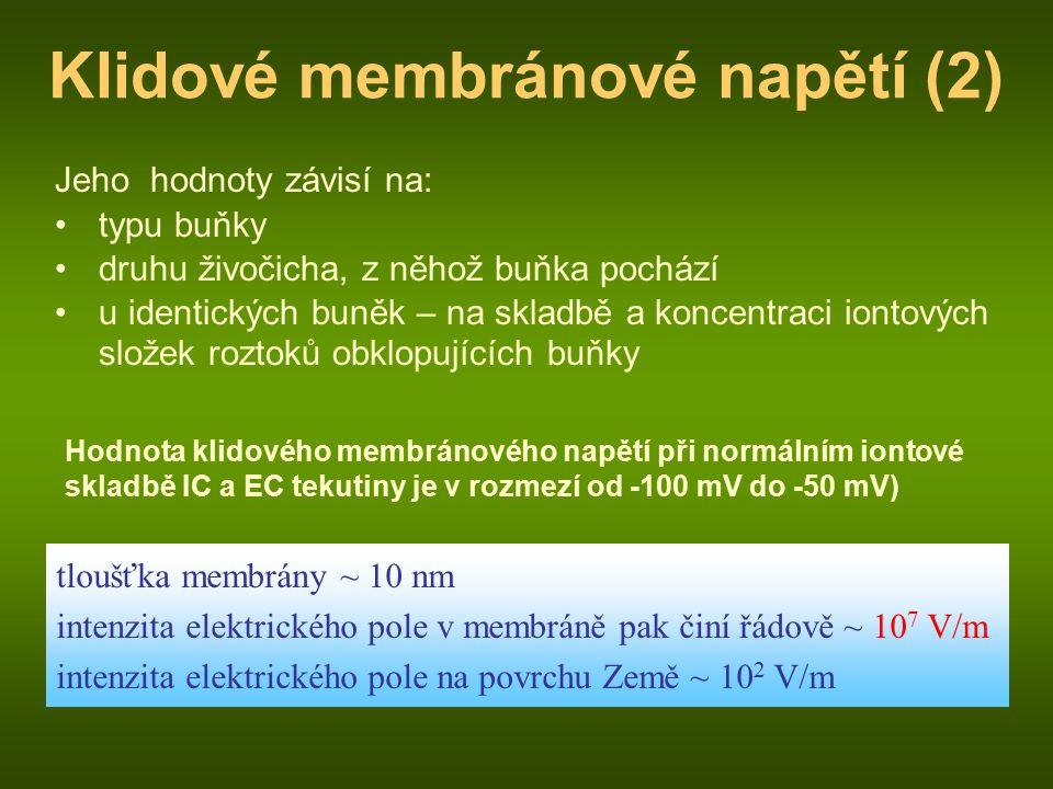 Klidové membránové napětí (2) Jeho hodnoty závisí na: typu buňky druhu živočicha, z něhož buňka pochází u identických buněk – na skladbě a koncentraci iontových složek roztoků obklopujících buňky Hodnota klidového membránového napětí při normálním iontové skladbě IC a EC tekutiny je v rozmezí od -100 mV do -50 mV) tloušťka membrány ~ 10 nm intenzita elektrického pole v membráně pak činí řádově ~ 10 7 V/m intenzita elektrického pole na povrchu Země ~ 10 2 V/m