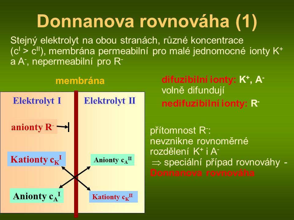 membrána Elektrolyt I anionty R - Anionty c A II Kationty c K I Elektrolyt II Kationty c K II Anionty c A I Donnanova rovnováha (1) Stejný elektrolyt na obou stranách, různé koncentrace (c I > c II ), membrána permeabilní pro malé jednomocné ionty K + a A -, nepermeabilní pro R - difuzibilní ionty: K +, A - volně difundují nedifuzibilní ionty: R - přítomnost R - : nevznikne rovnoměrné rozdělení K + i A -  speciální případ rovnováhy - Donnanova rovnováha