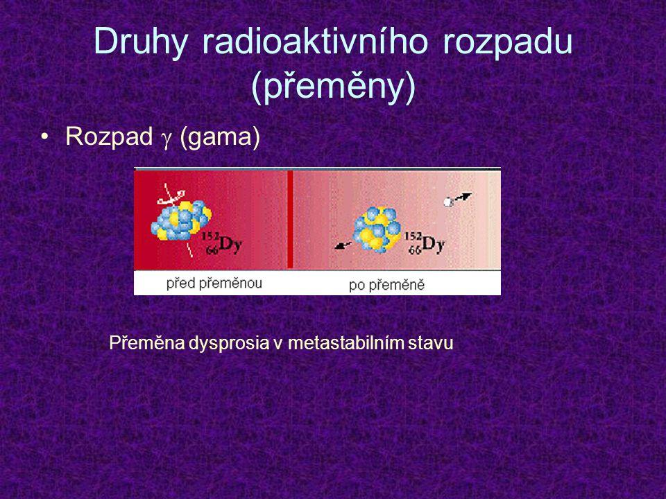 Druhy radioaktivního rozpadu (přeměny) Rozpad  (gama) Přeměna dysprosia v metastabilním stavu