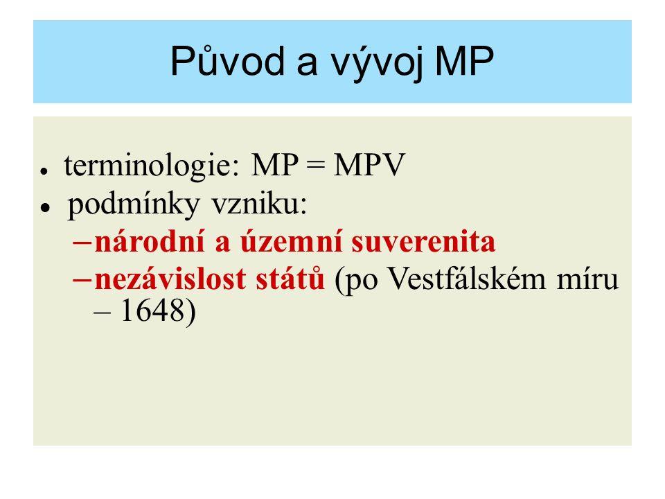 Původ a vývoj MP terminologie: MP = MPV podmínky vzniku: – národní a územní suverenita – nezávislost států (po Vestfálském míru – 1648)