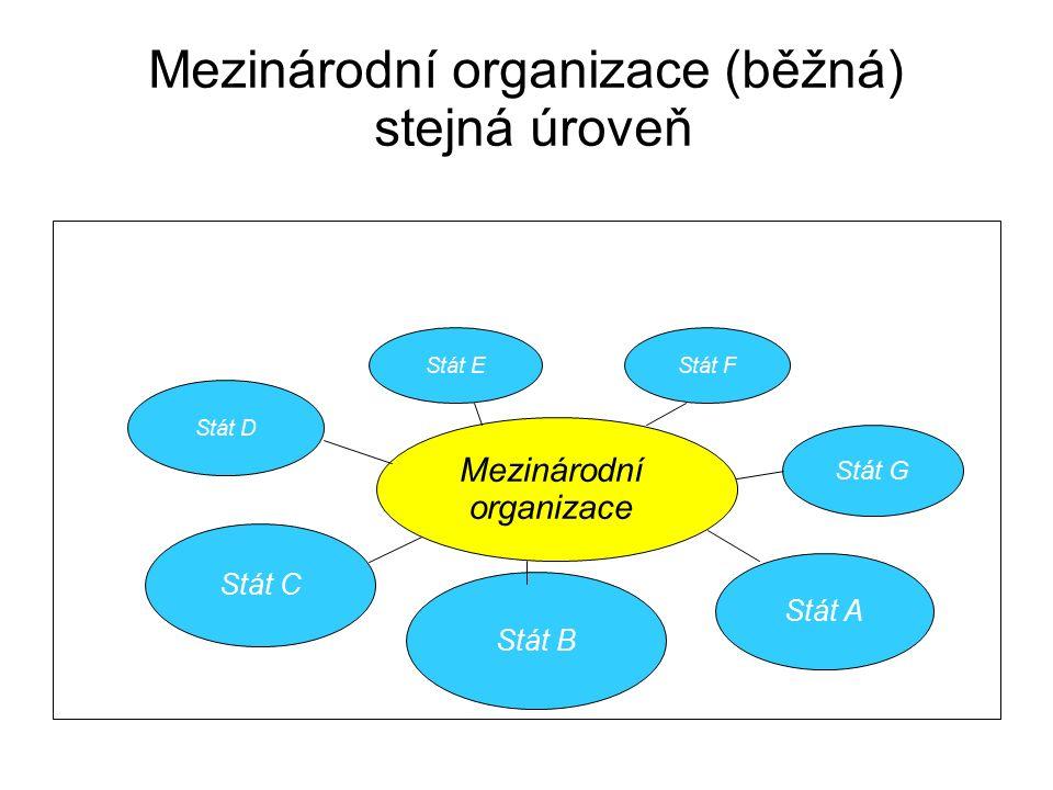Mezinárodní organizace (běžná) stejná úroveň Stát D Stát C Stát E Stát F Stát A Stát G Stát B Mezinárodní organizace