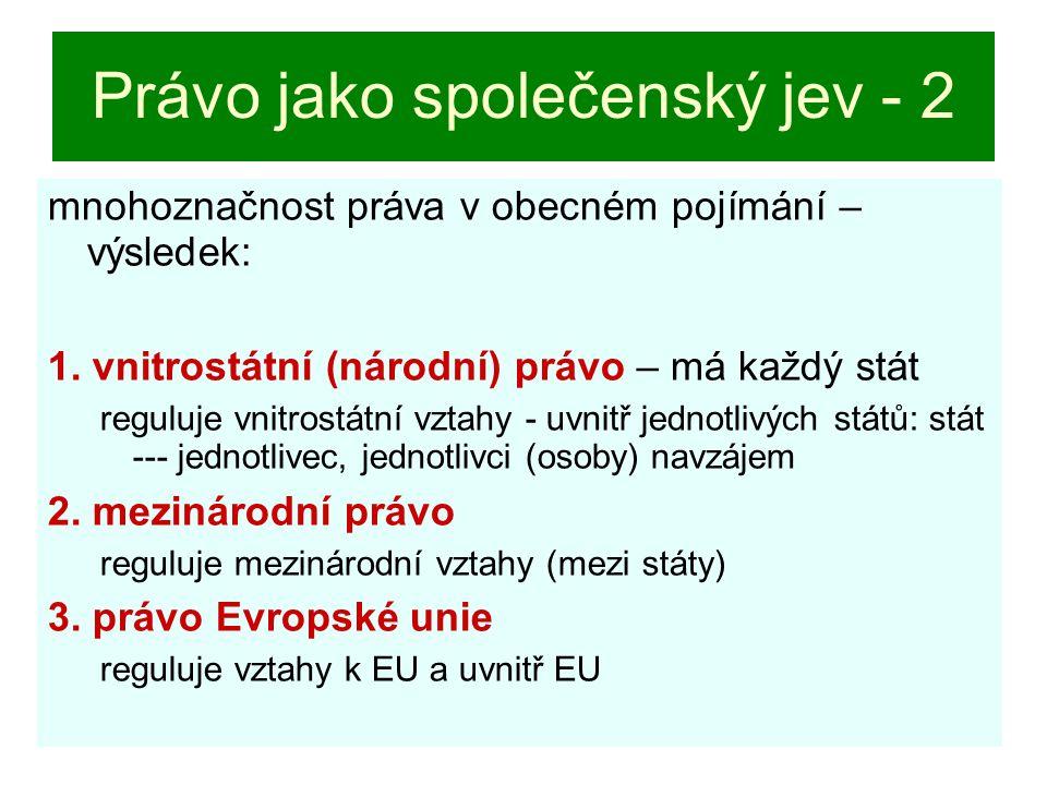 3. Právo Evropské unie EU: ani mezinárodní společenství, ani stát