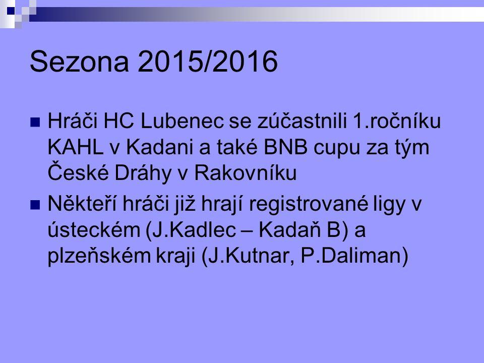 Sezona 2015/2016 Hráči HC Lubenec se zúčastnili 1.ročníku KAHL v Kadani a také BNB cupu za tým České Dráhy v Rakovníku Někteří hráči již hrají registrované ligy v ústeckém (J.Kadlec – Kadaň B) a plzeňském kraji (J.Kutnar, P.Daliman)