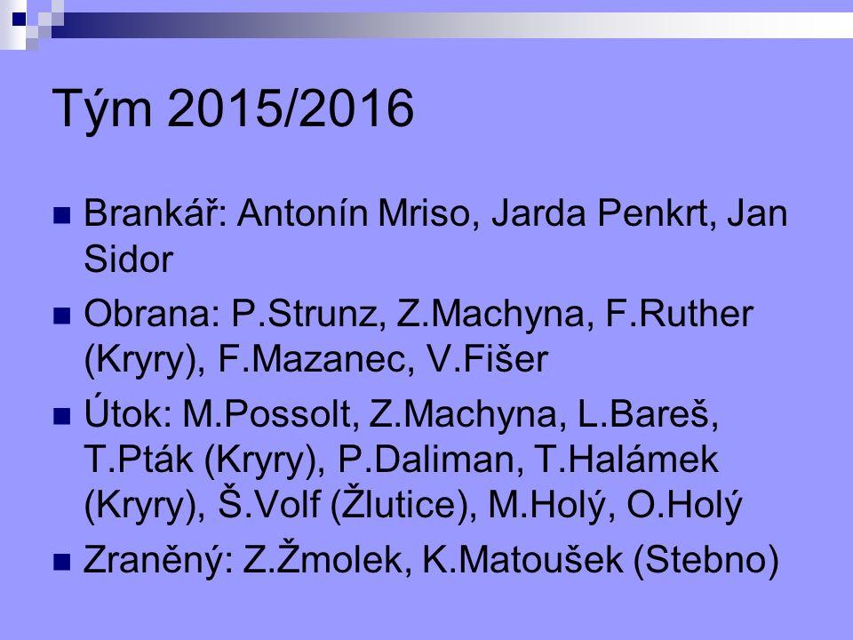 Tým 2015/2016 Brankář: Antonín Mriso, Jarda Penkrt, Jan Sidor Obrana: P.Strunz, Z.Machyna, F.Ruther (Kryry), F.Mazanec, V.Fišer Útok: M.Possolt, Z.Machyna, L.Bareš, T.Pták (Kryry), P.Daliman, T.Halámek (Kryry), Š.Volf (Žlutice), M.Holý, O.Holý Zraněný: Z.Žmolek, K.Matoušek (Stebno)