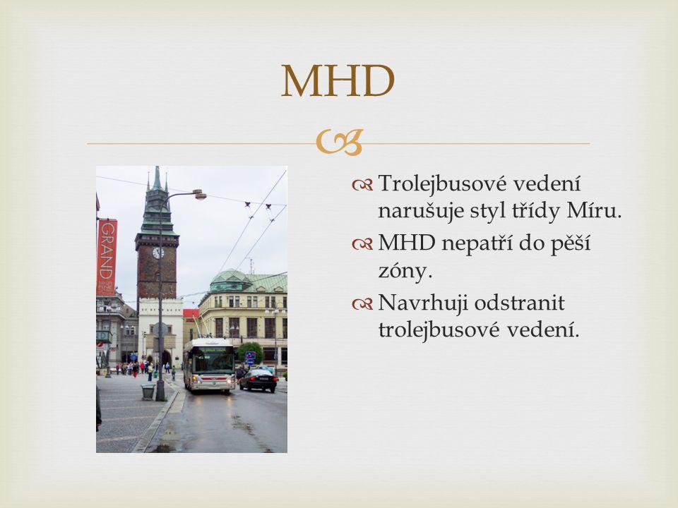  MHD  Trolejbusové vedení narušuje styl třídy Míru.