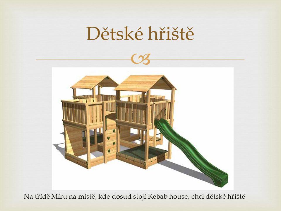  Dětské hřiště Na třídě Míru na místě, kde dosud stojí Kebab house, chci dětské hřiště
