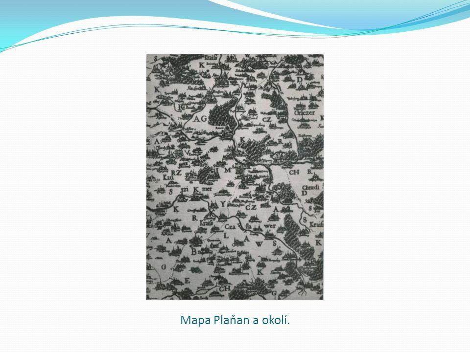 Mapa Plaňan a okolí.